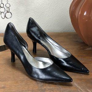 Anne Klein Black Pointed Half D'orsay Kitten Heels